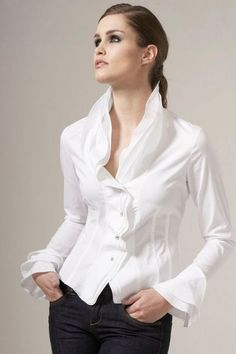 Experts in Women's Shirts & Blouses. Quality Shirts For Women. Find the best selection of women's classic shirts. Classic White Shirt, Crisp White Shirt, Fashion Mode, Fashion Outfits, Party Fashion, Trendy Fashion, Fashion Ideas, Beautiful Blouses, Casual Chic