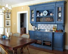Blue And Yellow Kitchen Love The Color Of This Hutch Thinking I Might Paint