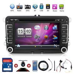 "New 7"" 2din Car DVD GPS Stereo Car Dvd GPS Player Navigation Window ce 6.0 for VW GOLF 4 GOLF 5 6 POLO PASSATCC JETTA TIGUAN TOURAN EOS SHARAN SCIROCCO T5 CADDY HD Free Camera and map card"