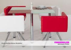Küçük cam mutfak masaları ve dekoratif koltuklar ile mutfağınıza yeni bir soluk katabilirsiniz. Beyaz ve kırmızı deri koltuklar mutfağınıza sportif ve eğlenceli bir görüntü kazandıra