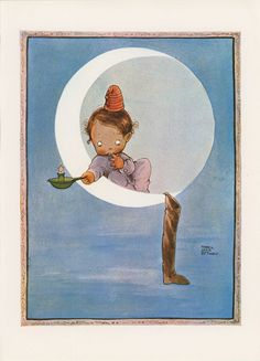 Cute Little Baby Sitting On Moon With Candle By Stocking, Will Santa Claus Come, Mabel Lucy Attwell, Christmas, Antique Print, USA, 1975