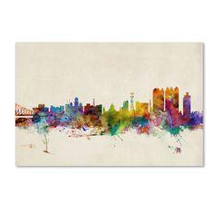 Michael Tompsett 'Calcutta Watercolor Skyline' Art