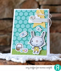 Card by Amy Sheffer. Reverse Confetti stamp set and coordinating Confetti Cuts: Hippity Hoppity. Quick Card Panels: Hoppin' Dots. Easter card. Spring card. Easter Bunny.