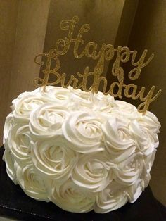 Pretty rose cake at a black, white and gold birthday party! See more party planning ideas at CatchMyParty.com!