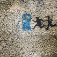 Graffiti seen in Tel Aviv. Is that Doctor Who running with a dinosaur?   Saved for my fave Whovian. ;-)