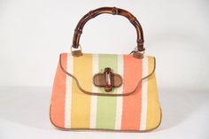 fbe11dc7dd45 GUCCI Authentic vintage Multicolor BAIADERA Canvas handbag with Bamboo  handle AS