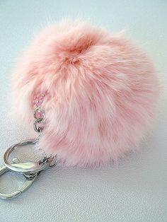 plush PINK color fur ball keychain pom pom glam fun by sassycotton