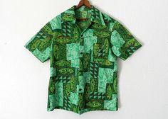 tiki aloha shirts made in hawaii | 60's GREEN HAWAIIAN SHIRT - Made in Hawaii / Tiki / Tribal / Luau ...