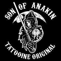 Tee shirt parodie sons of anarchy luke skywalker sons of anakinvador noir