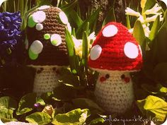 free crochet mushroom or toadstool pattern A is for Amigurumi: I went to the woods. Crochet Fairy, Cute Crochet, Crochet Flowers, Crochet Patterns Amigurumi, Crochet Dolls, Crocheting Patterns, Amigurumi Toys, Crochet Mushroom, Fairy Garden Accessories