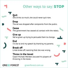 Synonyms to the word STOP. Other ways to say STOP. Синонимы к английскому слову STOP.