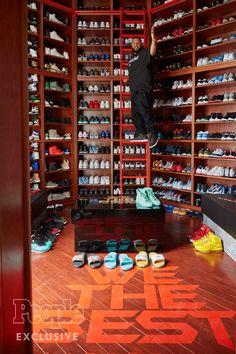 DJ Khaled Gives a Tour of His Miami Mansion Sneaker Storage, Shoe Storage, Shoe Room, Shoe Closet, Shoe Wall, Celebrity Closets, Celebrity Houses, Boutique Interior, Closet Tour