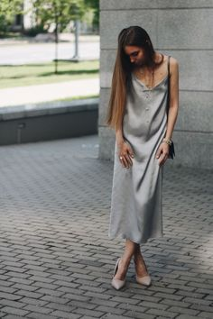 Платье-комбинация на тонких бретельках из шёлка дымчато-голубого цвета Moscow, Photo And Video, Clothing, Instagram, Dresses, Fashion, Tall Clothing, Gowns, Moda