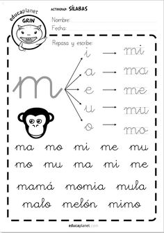 silabas directas M 29 fichas como tarea individual de refuerzo de silabas directas #silabas #lectoescritura #infantil #repaso Un complemento ideal a LEO CON GRIN. French Language Lessons, French Lessons, Spanish Lessons, Pre K Activities, Alphabet Activities, French Worksheets, French Classroom, School Items, Pre Writing