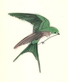 Bird art print Swallow Bird art print - Jasper the Tree Swallow - 4 X 6. $6.50, via Etsy.