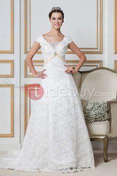 Fancy Floor-length Short-Sleeves Lace A-line/Princess Sandra's Wedding Dress