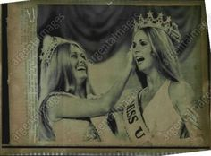 Miss USA 1971 Michelle McDonald (Pennsylvania) crowns her successor Miss USA 1972 Tanya Wilson (Hawaii)