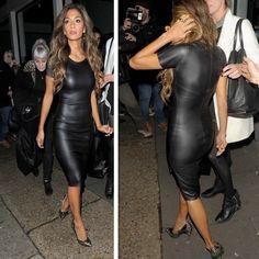 Leatherette midi dress as seen on the stylish Nicole Scherzinger  #mididress #fashion #outfitideas #clubnights #womensfashion #celebritystyle #highfashion #nightout #datenight