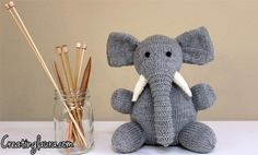 A knitted elephant from Creating Laura- Elizabeth loves him! Thanks Laura!!