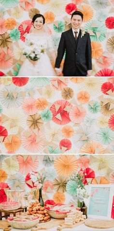 Colorful DIY paper rosette wedding backdrop // Bertram and Jasmine's Wedding With a Children's Corner and Paper Rosette Backdrop