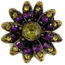 Flower Brooch Vintage Pin Purple Green Rhinestone Gold Tone p498