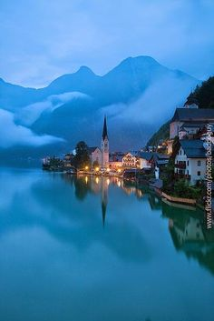 Hallstatt Morning ~ lake view, foggy morning at the iconic landmark, Austria