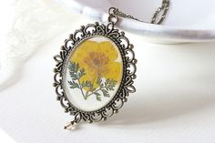 Pressed flower necklace -  Cameo necklace - Botanical necklace - gift for her on Etsy, $34.32