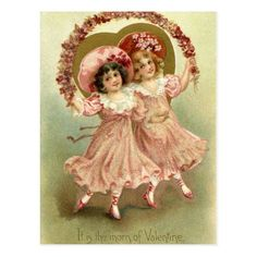 Pink Vintage Valentine's Day Friendship Postcard - tap, personalize, buy right now!