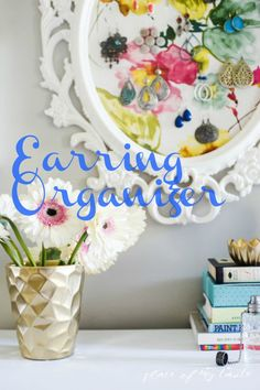 Such a pretty earring organizer and so easy to make yourself