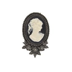 A nostalgic glimpse at 1920's fashion, this hematite tone pin features an intricate maiden cameo situated atop a vintage floral frame accented by petite glass crystals.
