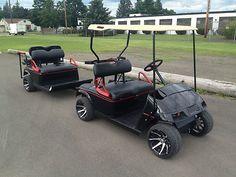 EZGO Golf Cart with Sweet Matching Custom Made Trailer Golf Mk5, Custom Golf Carts, Golf Cart Batteries, Go Kart, My Ride, Golf Clubs, Camping, Sweet, Vehicles