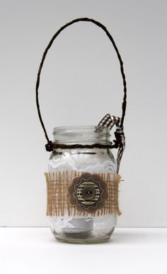 Burlap and Lace Mason Jar Hanging Candle Holder  by ItsJustDarlin, $8.00