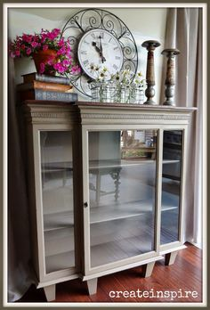 Repurposed Hutch Top-for quilt storage. I would have chosen different legs. Paint Furniture, Furniture Makeover, Kitchen Furniture, Furniture Ideas, Furniture Design, Teal Bookshelves, Bookcases, Top Of Cabinets, China Cabinets