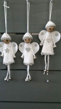 Knuffies PURCHASED pattern - CROCHET - adorable little angels for the tree, mantel or anywhere else you want to place them to adorn your home. Crochet Christmas Decorations, Crochet Ornaments, Christmas Crochet Patterns, Crochet Snowflakes, Angel Ornaments, Crochet Crafts, Crochet Dolls, Crochet Projects, Free Crochet