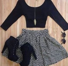 Need every piece in this outfit!  Black three quarter sleeve crop top, black laced pumps