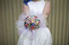 The Rainbow Vintage Button Bouquet