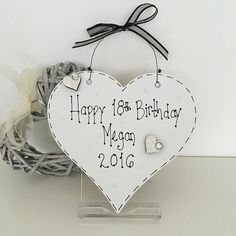 Personalised 16th 18th 21st 30th 40th 50th 60th 70th Keepsake Heart Plaque, £10.00