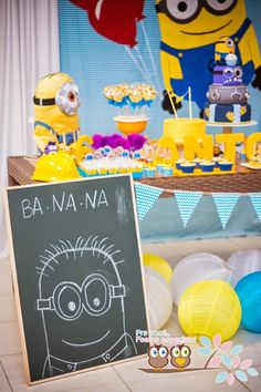 """Despicable Me - Minion themed birthday party via Kara's Party Ideas. Love the chalkboard drawing of the minion, sounding out """"banana"""" Happy Birthday B, Minion Birthday, 6th Birthday Parties, 2nd Birthday, Minion Baby, Birthday Ideas, Minion Party Theme, Despicable Me Party, Minion Party Games"""
