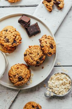 Healthy, vegan + gluten-free oatmeal chocolate chip cookies made with 10 wholesome ingredients! Tender on the inside, crunchy on the outside, SO delicious!