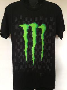 New Monster Energy Drink Green Claw Logo Promo Black Check T Shirt Men's Small #Monster #BasicTee