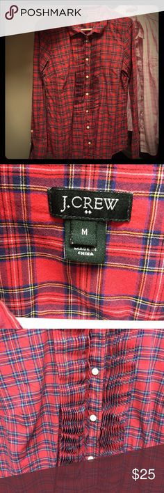 J. Crew Button Down Soft tartan plaid top, so cute for fall holidays with jeans and boots. Stock it away for this fall, it's a keeper! J. Crew Tops Button Down Shirts