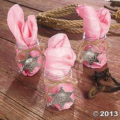 Pink Cowgirl Favors - only do it with the clear boot mug, bright bandana, and the dremcatcher
