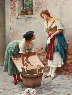 Sharing the News (1904)-Eugene de Blaas