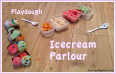 would be fun with diff scented playdoh like she mentions.  Taming the Goblin: Kids Co-op - Playdough Ice cream parlour  #ECED #preschool