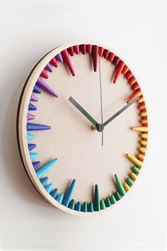 A sustainable wall clock that will instantly cheer up the interiors of your home. Made from paper, this rainbow clock is the perfect summer decor. Also makes a wonderful housewarming gift for the LGBTQ person in tour life. Rainbow Paper, Rainbow Wall, Contemporary Clocks, House Colors, Little Gifts, House Warming, Cheer, Paper Crafts, Interiors