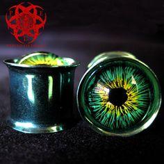 Green & Yellow Eyes Ear Plugs gauged ears 9/16 by PiercedEyeDesign, $24.99