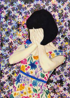 """Don't look at me!"" by NAOMI OKUBO - acrylic on linen"