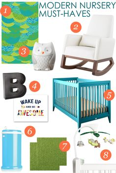 Modern Nursery Must-Haves - great ideas and decor for a mod space for baby!
