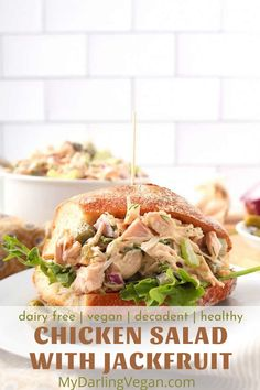 This vegan chicken salad sandwich is made with jackfruit and it's totally delicious! So easy to make and perfect for lunch or dinner. #sandwich #jackfruit #vegan #mydarlingveagn #easy Vegan Chicken Salad, Chicken Salad Ingredients, Healthy Chicken, Jackfruit Recipes, Classic Salad, Salad Sandwich, Delicious Vegan Recipes, Vegan Dinners, Whole Food Recipes