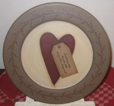 HAND PAINTED WOODEN PLATE~ FOLK~VALENTINE ~ LOVE~ PRIMITIVE ~ SIGNED~ HEART~LOOK
